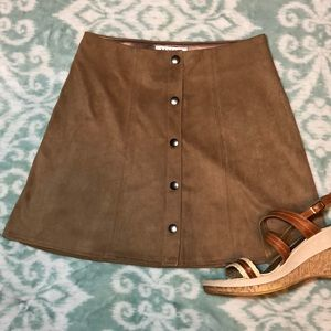 Kendall + Kylie Microsuede Tan Snap Mini Skirt